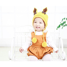 glittery sweet Brand New Style Baby Hat Rabbit Modeling Cap Children's Ear Cap Double Ball Warm Hat Autumn Winter 1-3 Years Old(China)