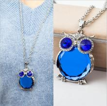 Buy 2017 Trendy Owl Necklace Fashion Rhinestone Crystal Jewelry Statement Women Necklace Silver Chain Long Necklaces & Pendants for $1.48 in AliExpress store