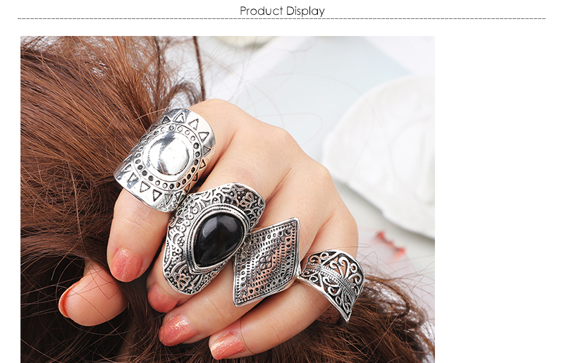 AYAYOO 4pcsPack Vintage Black Crystal Rings Lucky Silver Color Midi Knuckle Ring Set of Rings for Women Jewelry Party Gift (1)