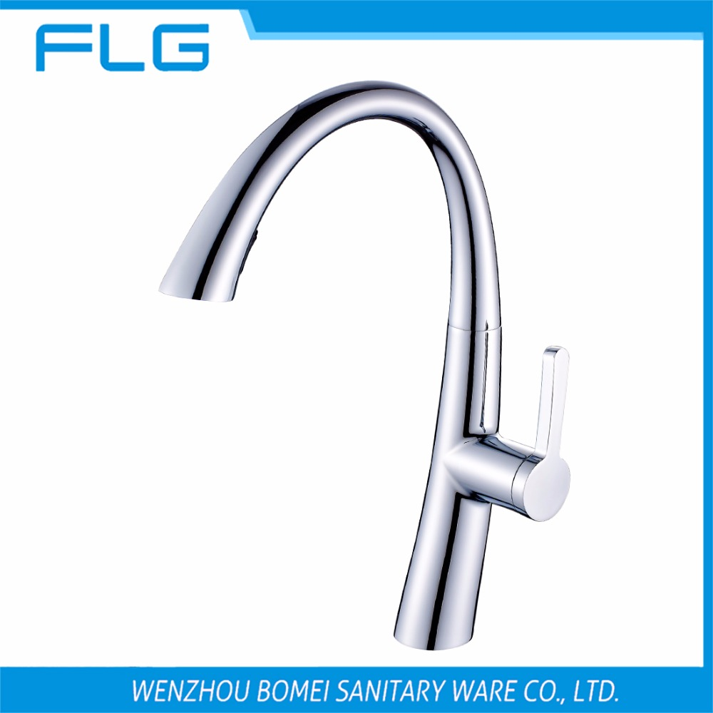 Free Shipping Single Handle Pull Down Pull Out Chrome Kitchen Sink Faucet100277,Solid Brass Kitchen Faucet<br><br>Aliexpress