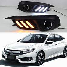 Car Flashing 1set For Honda Civic 10th 2016 2017 Turning Yellow Signal LED DRL Daytime Running Light Daylight lamps car-Styling