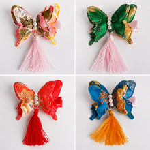 Chinese Silk Butterfly Tassel Hand Made Hair Clips Red Hairband Head Band Happy New Year Hairpin Rim Hair Accessories Hair Bows