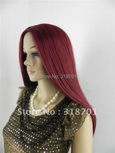 synthetic wig NEW Silky Straight Long Side Skin Top burgundy Wig (Free Shipping)