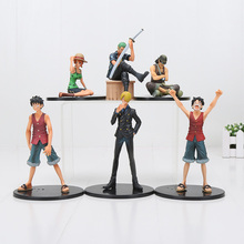 7-17cm Cartoon One Piece Luffy Zoro Sanji Nami usopp PVC Action Figures Collection Model Toys Gifts(China)
