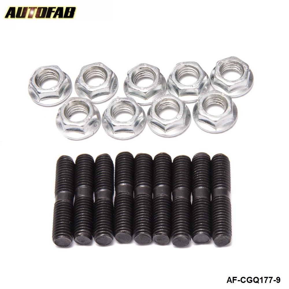 AUTOFAB -9 x Turbo Studs + Nuts For Nissan Garrett Turbocharger T25 T28 RB26 SR20 CA18  AF-CGQ178