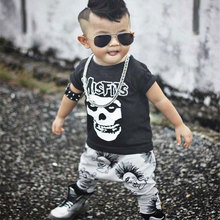 Newborn Boys Girls Baby Clothes Sets Jumpers Toddler Fall Skull Print Baby punk rock Harlan Pants Motorcycle Clothing(China)