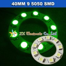 Free shipping + Wholesale + 5 pair /lot + Green color Car angel eyes halo rings light 40mm 9 5050 SMD led lamp(China)