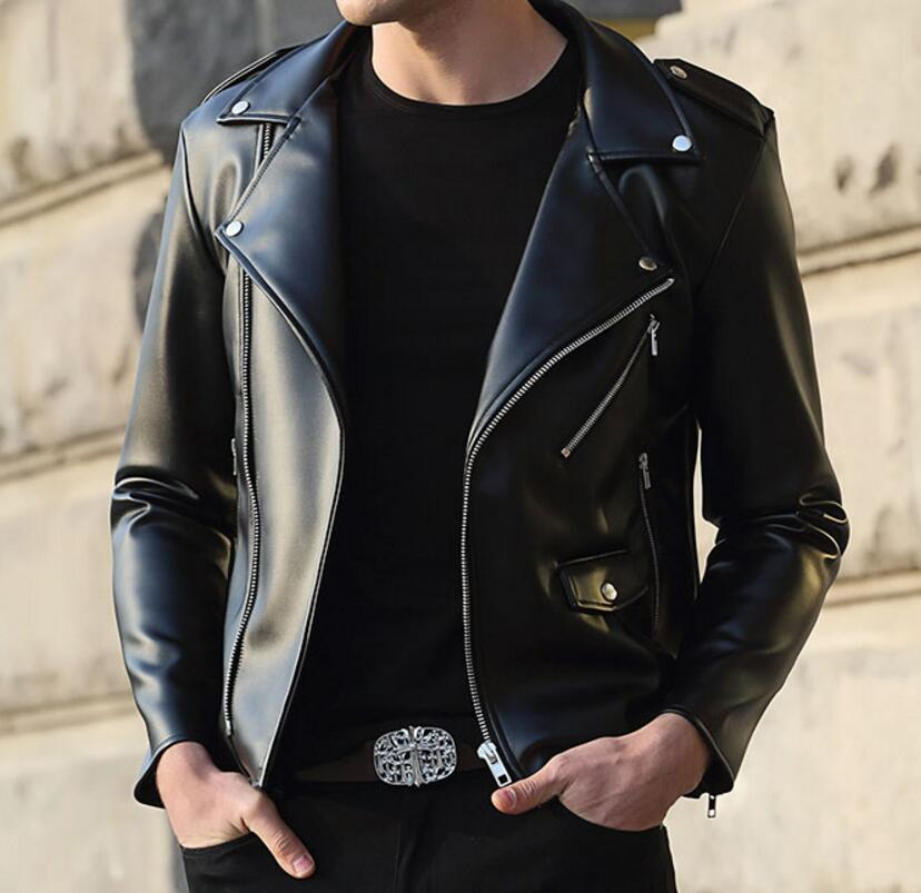 S-4XL HOT 2019 Spring Men's New Fashion Personality zippered pu leather jacket Stylish self-cultivated  jacket