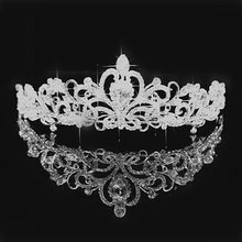 2017 Women Princess Crown Headband Crystal Rhinestone Tiara And Crowns Hair Band Jewelry Silver Bridal Hair Accessories Wedding(China)