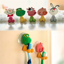 Cute Cartoon Animal Suction Cup Toothbrush Holder Hook Bathroom Set Accessories Suction Hooks 5 Colors Toothbrush Holder(China)