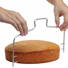 Double Line Adjustable Stainless Steel Metal Cake Cut Slicer Device Decorating Bakeware Kitchen Cooking Tool(China)