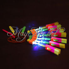 Hot sale 5 10 50Pcs Amazing LED Light Arrow Rocket Helicopter Flying Toy LED Light Flash Toys baby Toys Party Fun Gift(China)