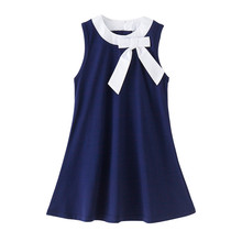 Buy 4 12 years kids & big girls summer navy blue big bow cotton casual flare dress children fahion sleeveless school dress for $14.95 in AliExpress store