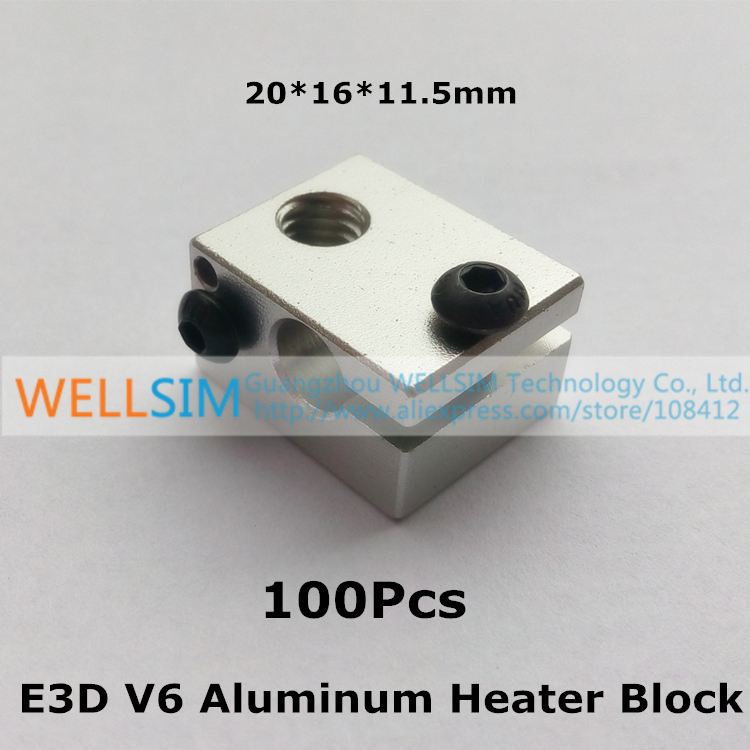 100Pcs Reprap E3D V6 Aluminum Heater Block All-Metal Extruder For HotEnd 20x16x11.5 20*16*11.5mm For 3 D Printer Parts<br><br>Aliexpress