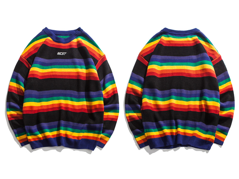 Rainbow Striped Knitted Pullover Sweaters 2