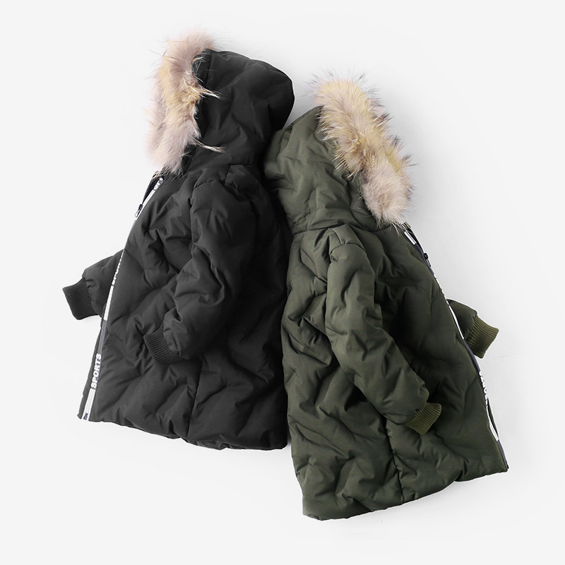 Children Winter Warm Coats Kids Boy Girl Thickening Hooded Jacket Cotton Padded Down Jacket Snowsuit Fur Collar Clothes 2-7T<br>