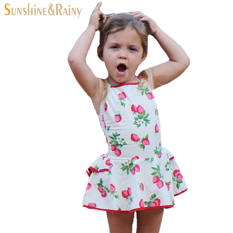 2017 Summer Baby Rompers Strawberry Printed Girls Jumpsuit Toddler Girl Clothing Newborn Baby Clothes Infant Kids Dresses<br><br>Aliexpress