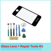 Black Front Repair Screen Replacement Glass Lens + Repair Tools Kit For iPhone 4 4S