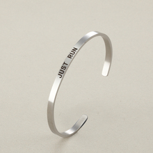 "Graduation/Birthday Gift Inspirational Charms ""Just Run""Stainless Steel Cuff Bracelet Bangles For Women Man Couple Jewelry"