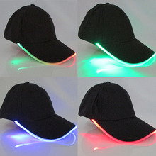 LongKeeper 6 Colors LED Light Flash Baseball Caps Fashion LED Lighted Glow Club Party Sports Black Fabric Travel Hats chapeu(China)