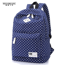 WILIAMGANU 2017 New Women Canvas Bag Mochilas Mujer Fashion Ladies Backpacks Polka Dot School Bags For Teenagers Girls