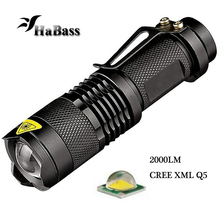 3 Modes Mini 2000LM Led Flashlight Waterproof Zoomable Torch lights lantern for 14500 Rechargeable Battery or AA