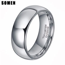 Fashion Brand Women's 6mm Dome Polished Silver Tungsten Carbide Ring Men Wedding Band Engagement Rings Jewelry anel masculino(China)