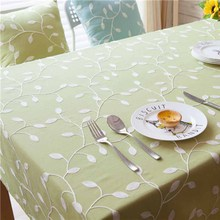 1 pcs Leaf Embroidery Green Cotton linen tablecloth Wedding Party Table cloth Cover Home decor decoration Tablecloths  44007