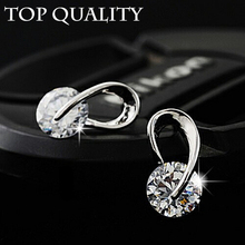 17KM Austria Crystal Wedding pendientes mujer Silver Color Zircon Crystal Stud Earrings Fashion Jewelry for Women brincos(China)