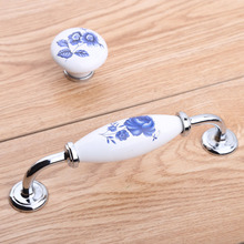 "128mm fashion rural blue flower kitchen cabinet dresser door handles 5"" silver chrome drawer tv table knobs pulls(China)"