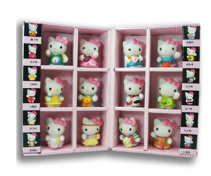 Free shipping Hello Kitty KT cat Japanese Anime  Figures 12pcs/set Constellation gift box ornaments Collection Hand to do gifts<br>