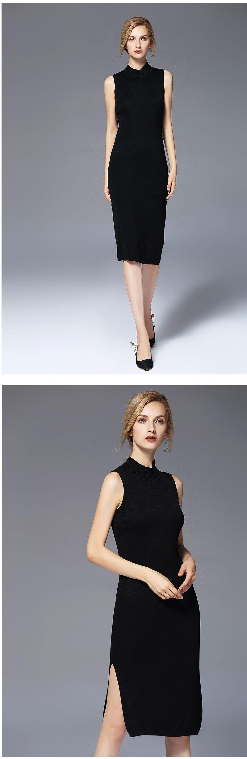 New Fashion Autumn Women Dresses Slim Sleeveless Dress Ladies Turtleneck Knitted Solid Vestidos Female 2017 Knee-Length Dress
