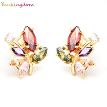 Yunkingdom Colourful Leaf Fascinating Jewelry Gold Color Cubic Zircon Hoop Earrings For Cocktail Party LPK0043(China)