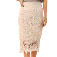Women Girls Lace Skirt Hollow Out A-Line White Black Solid SKirt Knee Length Plus SIze S-3XL Ladies Skirt