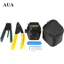 Free shipping Fiber Optic Tool 4 in 1 FTTH Splice fiber optic tool kits Fibre stripping +SKL-6C fiber cleaver(China)