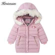 Hirsionsan Winter jacket for girls Fur collar hooded Cartoon doll ornaments kids warm coat for girl outwear children clothes