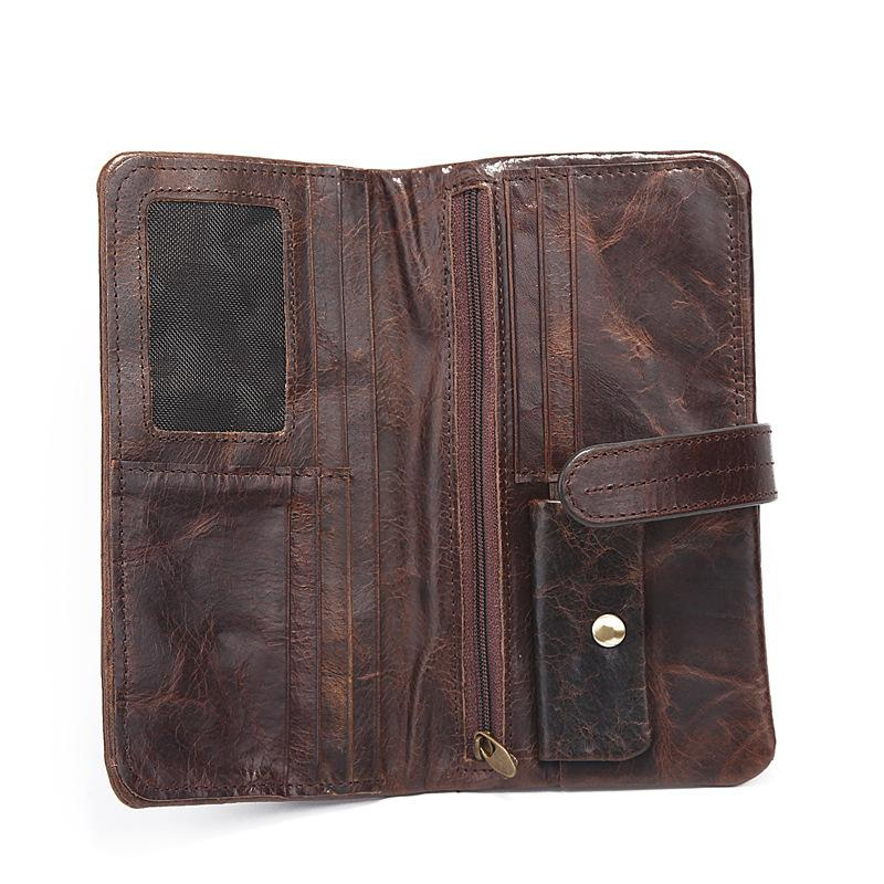 Luxury Vintage Designer High Quality 100% Genuine Cowhide Soft Leather Men Long Clutch Retro Wallets With Coin Pocket Male<br>
