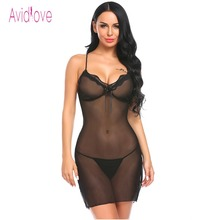 Buy Avidlove Lingerie Sexy Erotic Hot Night Dress Sex Costumes Women Lace Mesh Halter Babydoll Dress Plus Size Sleepwear Nightwear