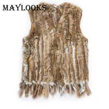Mink Coats Women 2018 Real Fur New Rabbit V-neck Style Knitted Vest /jacket/coat Winter Warm Women Genuine Hair Outwear Cs85(China)
