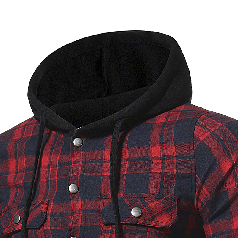 Plaid Shirt 2018 Autumn Fashion Shirts Men Casual Brand Clothing Men Shirt Long Sleeve Casual Lattice Hooded Camisa Social XXXL 13