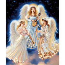 DIY Diamond mosaic Three music angel girl Diamond mosaic embroidery painting Drill cross-stitch kits needlework embroidery H1257(China)