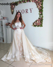 Buy 2018 Luxury Wedding Dresses Line Sheer Neck Sleeveless Bridal Gowns Applique Detachable Train Wedding Gowns for $198.00 in AliExpress store