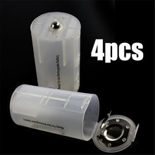 4pcs 2AA to D Battery Adapter Converter Case White