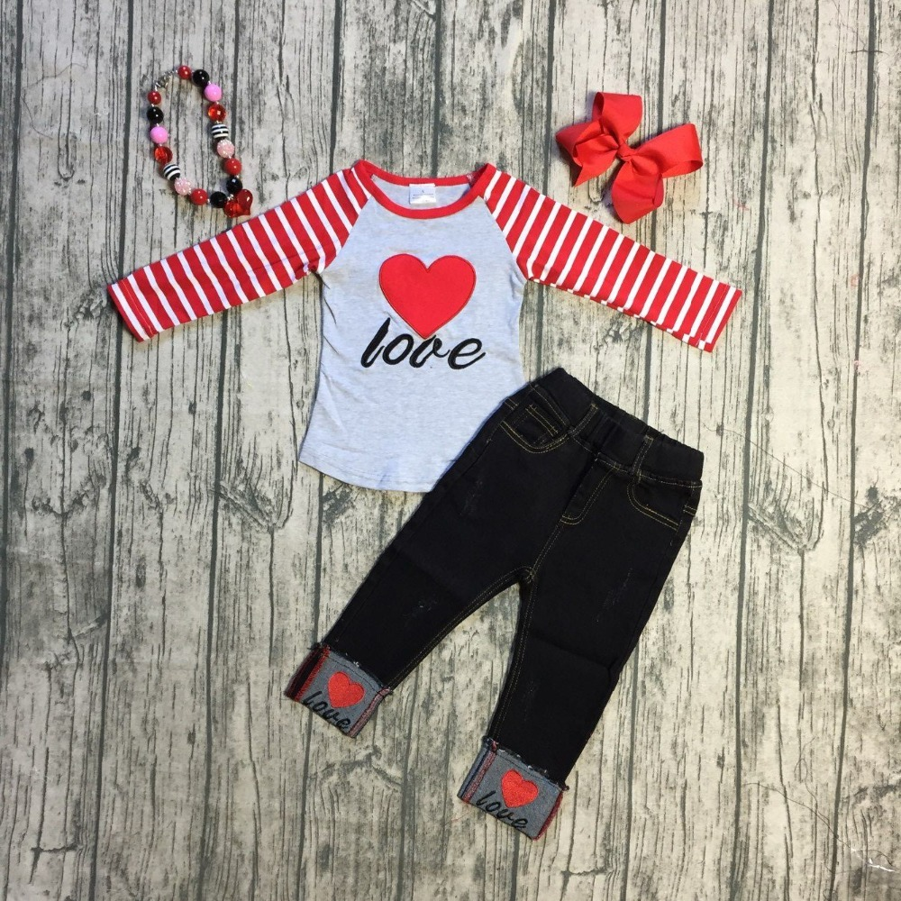 434a42507257 Girls Fall/winter baby girls Valentine's day clothes children v-day top  with jeans