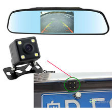 Free Shipping Video Visible Parking Sensor System Waterproof Rear View Camera + 4.3 inch screen Rear View Mirror Monitor