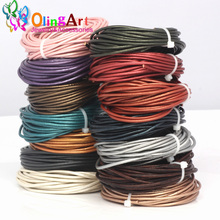 OlingArt Leather Cords 3mm 5M Craft Round pearl Genuine pearls Cord/rope/Wire/string DIY Bracelet choker necklace Jewelry making(China)