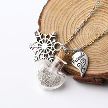 Hot selling Glass Wish Bottle Equipped with Fulcolor Bean Necklace Vintage Alloy Snow/Half Heart Shape Pendant Necklace NW2649(China)