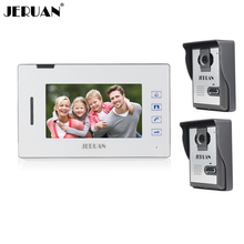 JERUAN 7 inch touch key video door phone intercom system two to one video phone doorbell speaker intercom free shipping