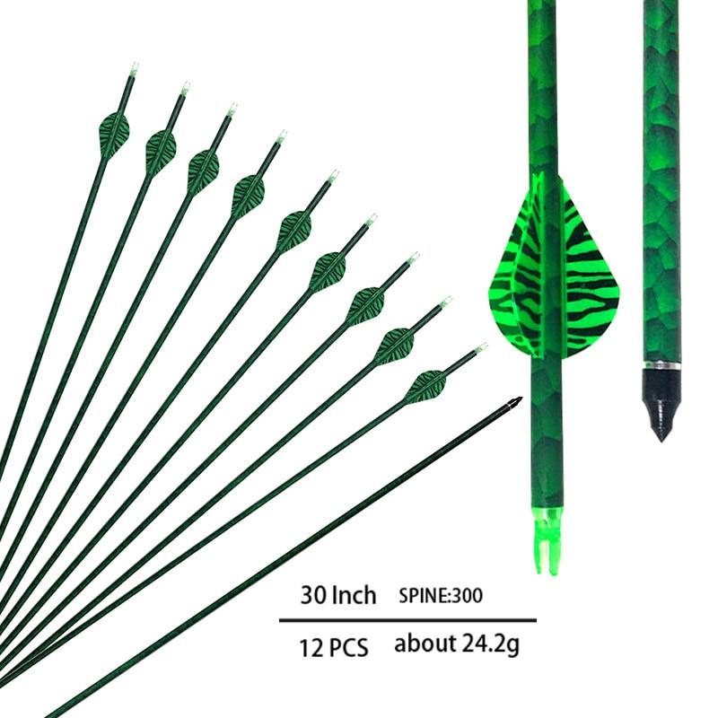 12pcs camo arrow shaft pure carbon arrow shaft spine300 ID6.2 for compound bow