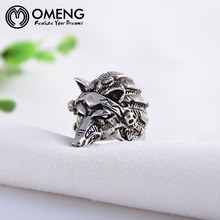 OMENG 2017 New Fashion vintage wolf head finger ring for men stainless steel ring male women punk jewelry JZ302